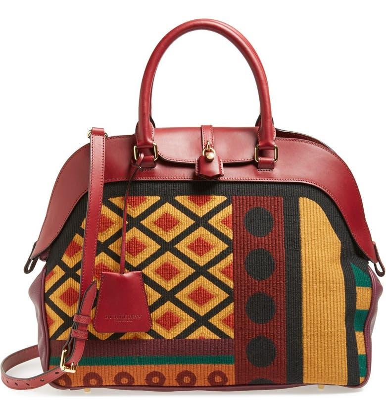 BURBERRY 'Large Milverton' Geometric Tapestry Bowling Bag, Main, color, 930