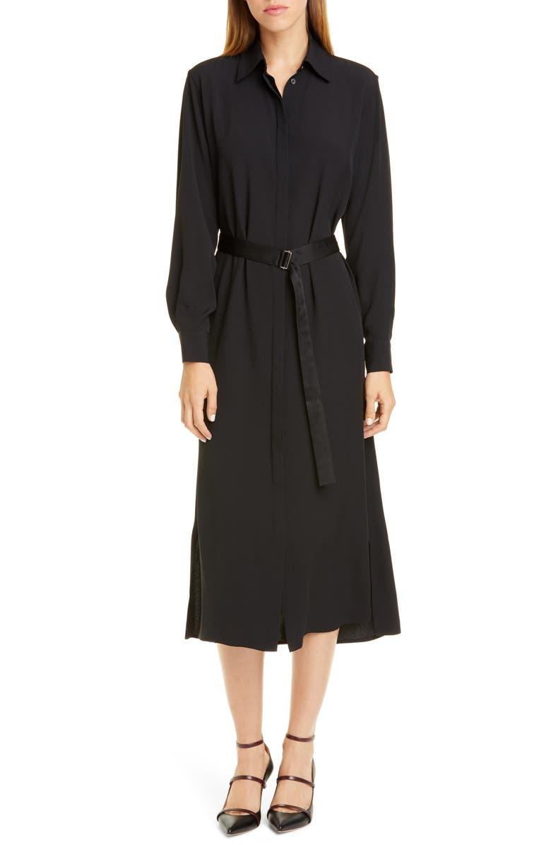 ROSETTA GETTY Crepe Long Sleeve Midi Shirtdress, Main, color, BLACK