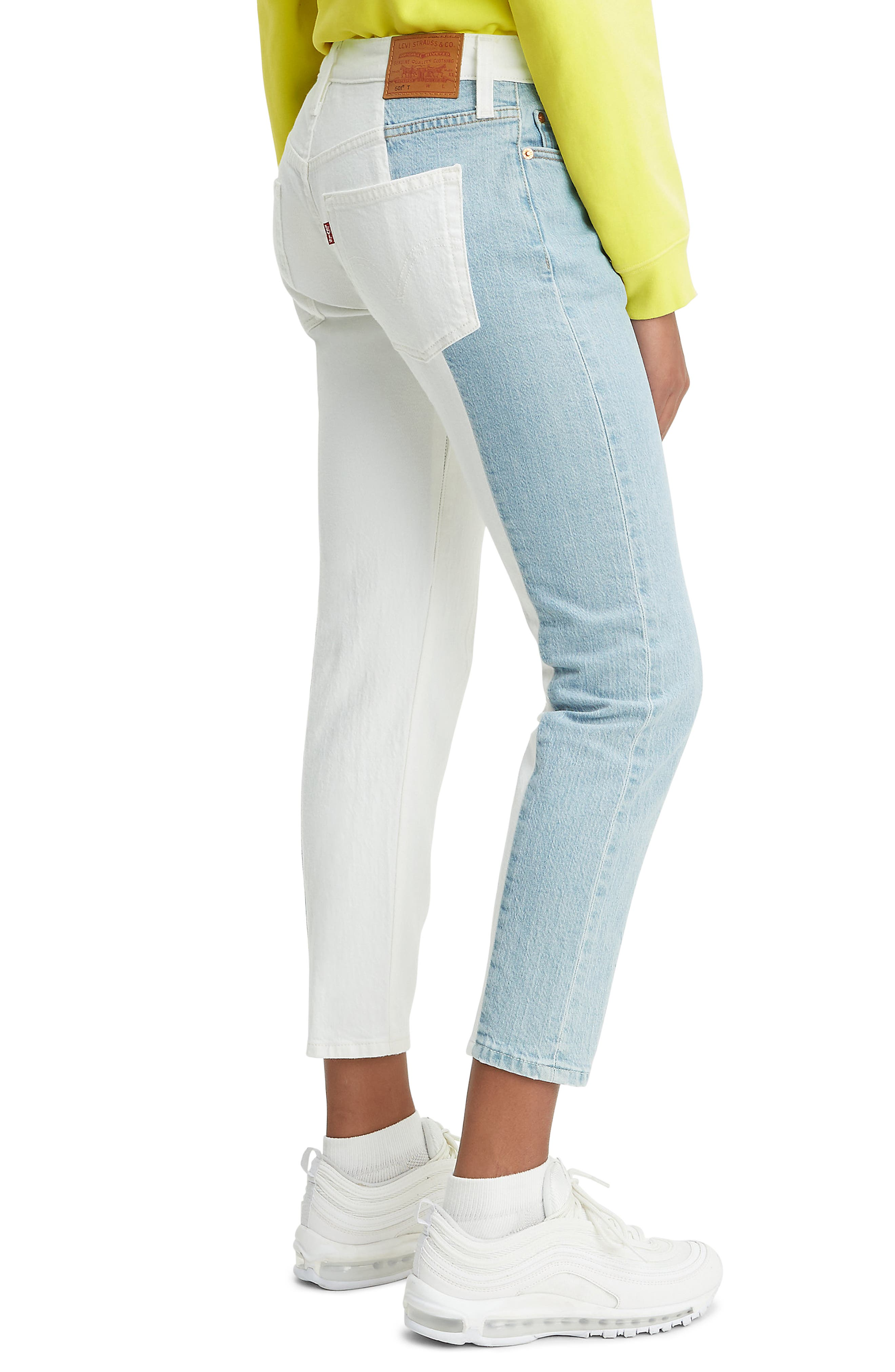 ,                             501<sup>®</sup> Colorblock High Waist Crop Jeans,                             Alternate thumbnail 4, color,                             SLICED AND DICED