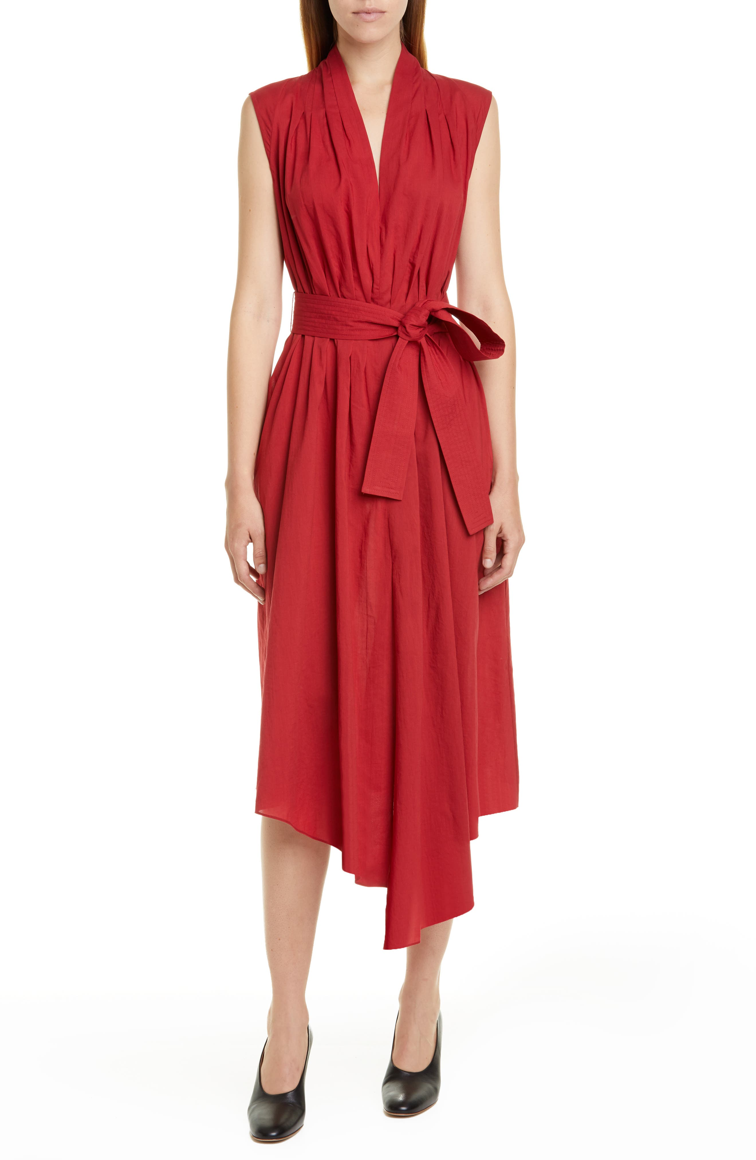 Adam Lippes Belted Asymmetrical Voile Midi Dress, Red