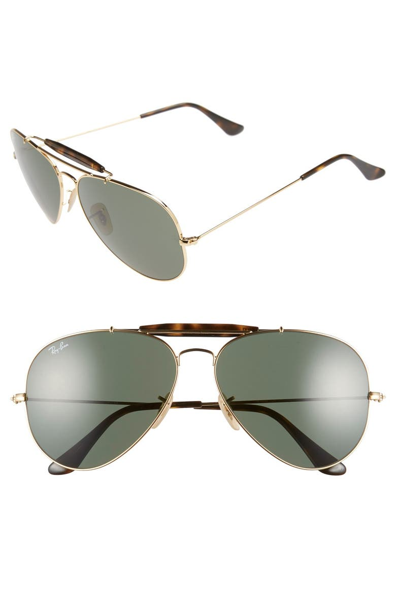 RAY-BAN 62mm Aviator Sunglasses, Main, color, 710