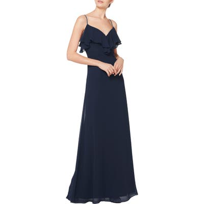 #levkoff Jeweled Strap Ruffle Neck Chiffon Gown, Blue