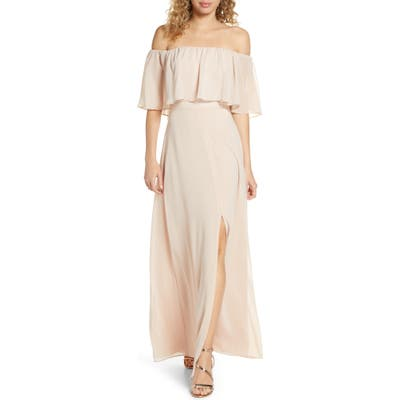 Wayf Popover Off The Shoulder Chiffon Gown, Beige