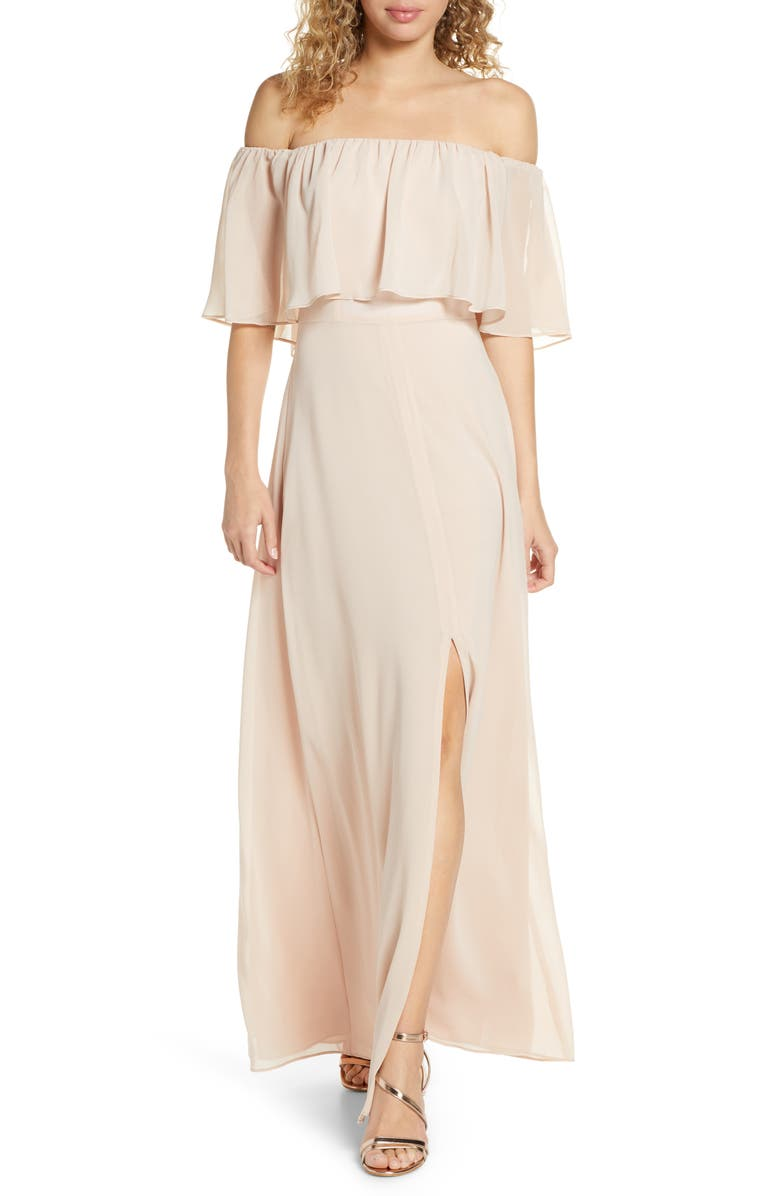 WAYF Popover Off the Shoulder Chiffon Gown, Main, color, CHAMPAGNE