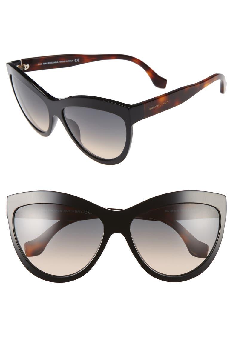 BALENCIAGA 60mm Sunglasses, Main, color, 001