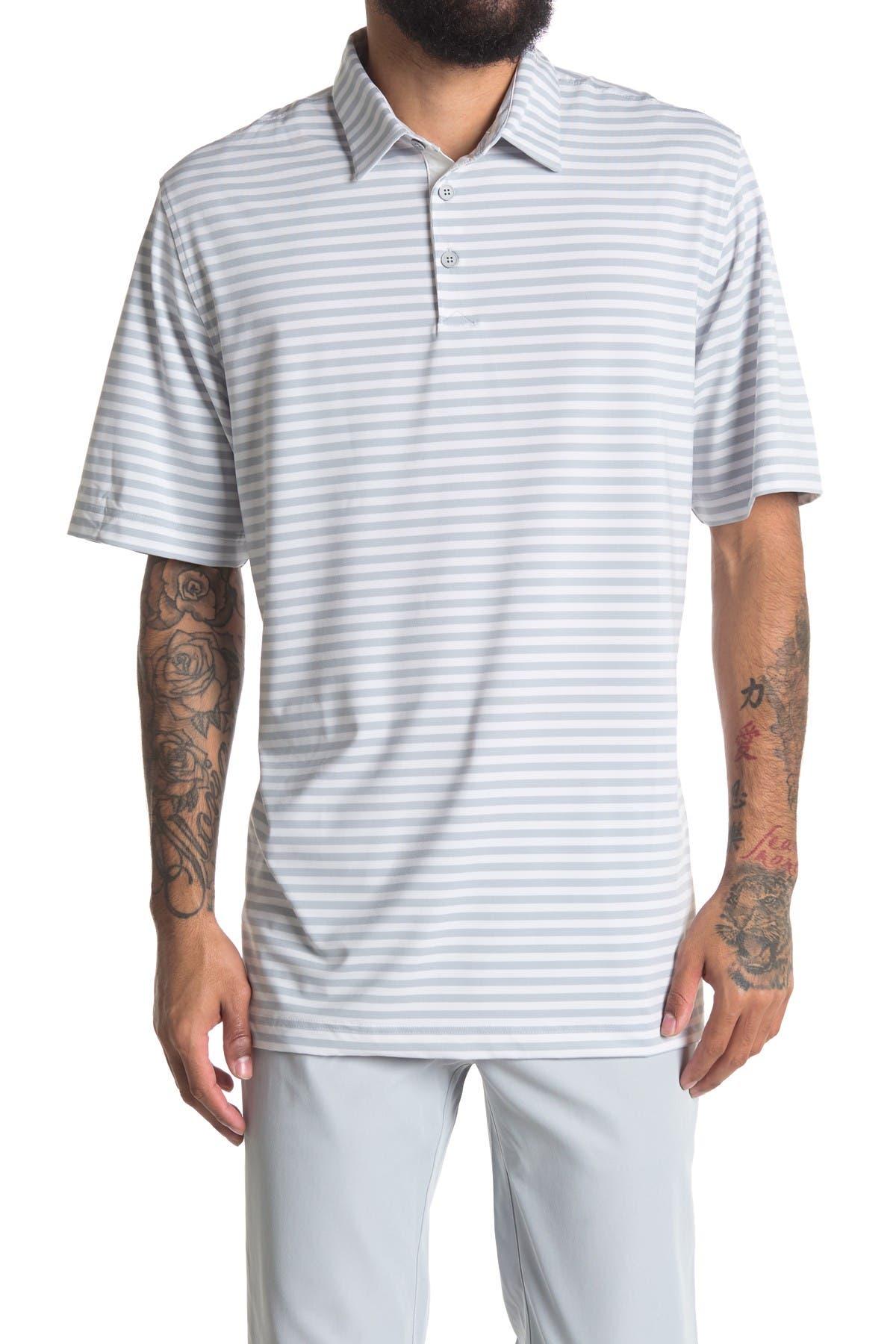 Image of Adidas Golf Adipure Essential Stripe Polo Shirt