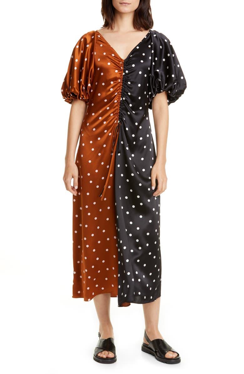 LEE MATHEWS Talulah Bubble Sleeve Silk Dress, Main, color, 001