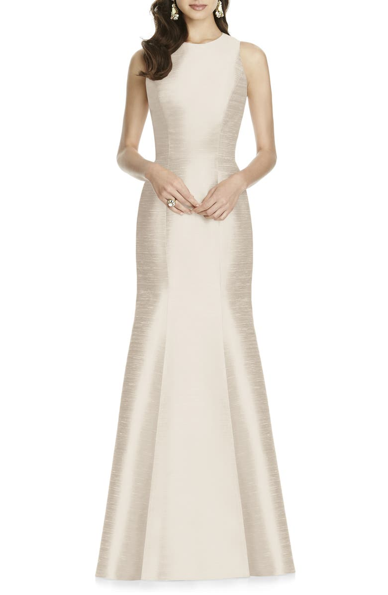 ALFRED SUNG Dupioni Trumpet Gown, Main, color, CHAMPAGNE