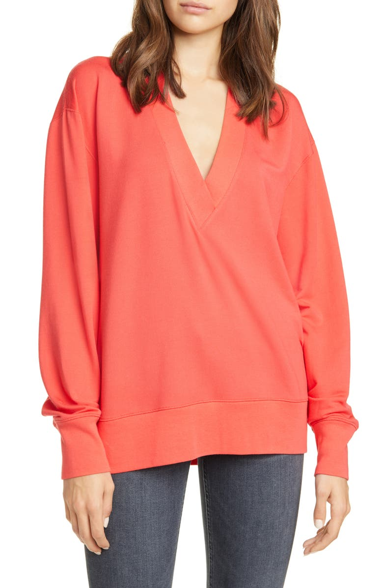 RAG & BONE Flora Sweatshirt, Main, color, HIBISCUS