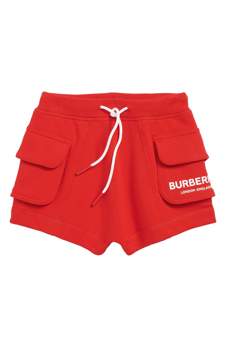 BURBERRY Knit Shorts, Main, color, BRIGHT RED