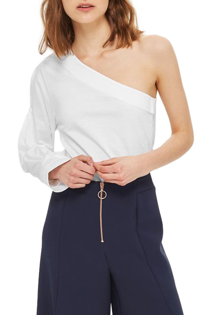 TOPSHOP One-Shoulder Jersey Top, Main, color, 100