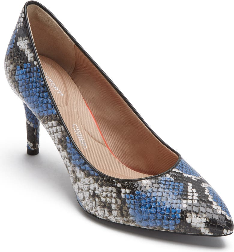 ROCKPORT Total Motion Pointy Toe Pump, Main, color, BLUE SNAKE PRINT LEATHER