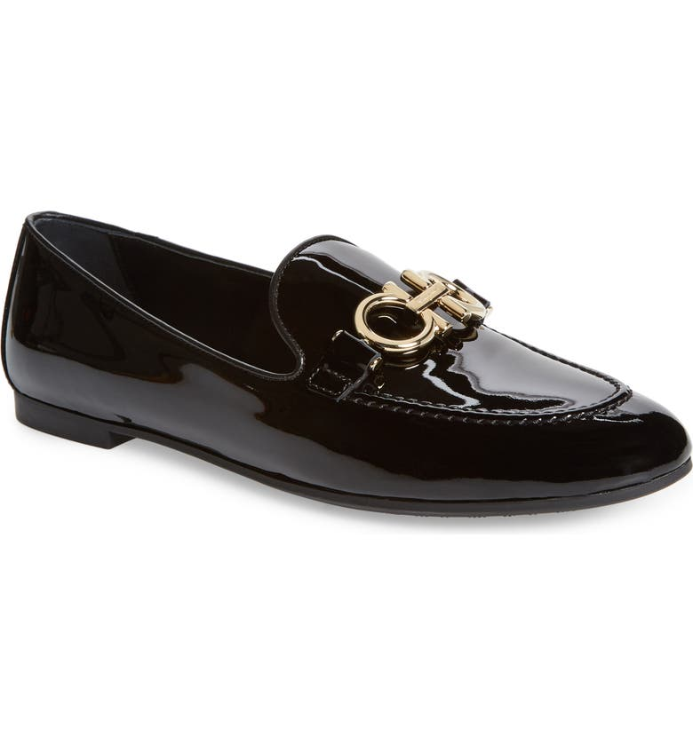 SALVATORE FERRAGAMO Trifoglio Bit Loafer, Main, color, BLACK