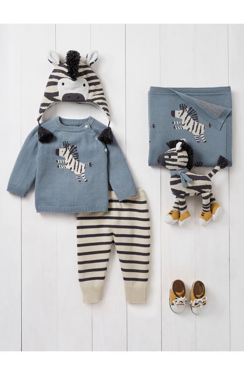 ELEGANT BABY Zebra Outfit, Blanket & Toy Set, Main, color, TEAL