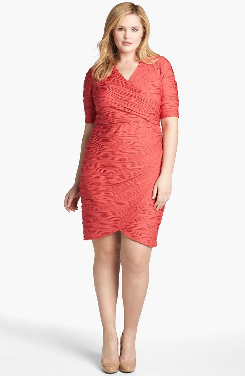 London Times Textured Short Sleeve Sheath Dress (Plus Size ...