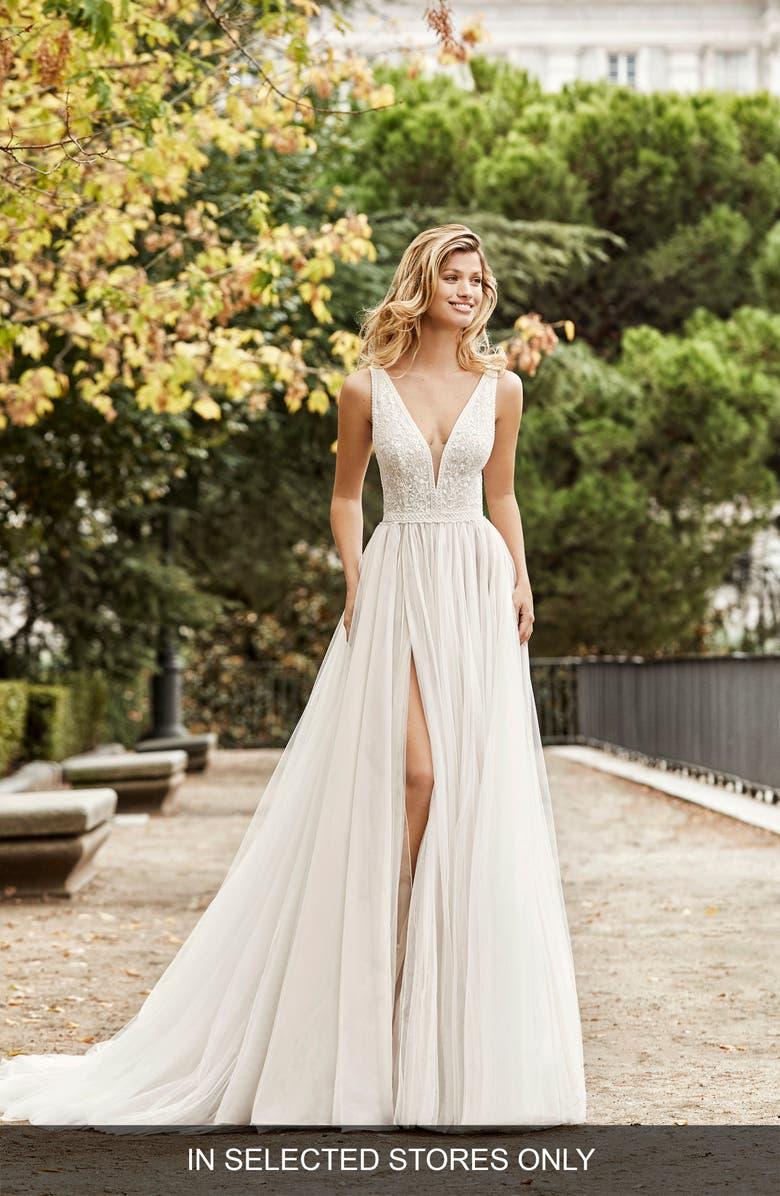 AIRE BARCELONA Nontue Princess Wedding Dress, Main, color, NATURAL/NUDE