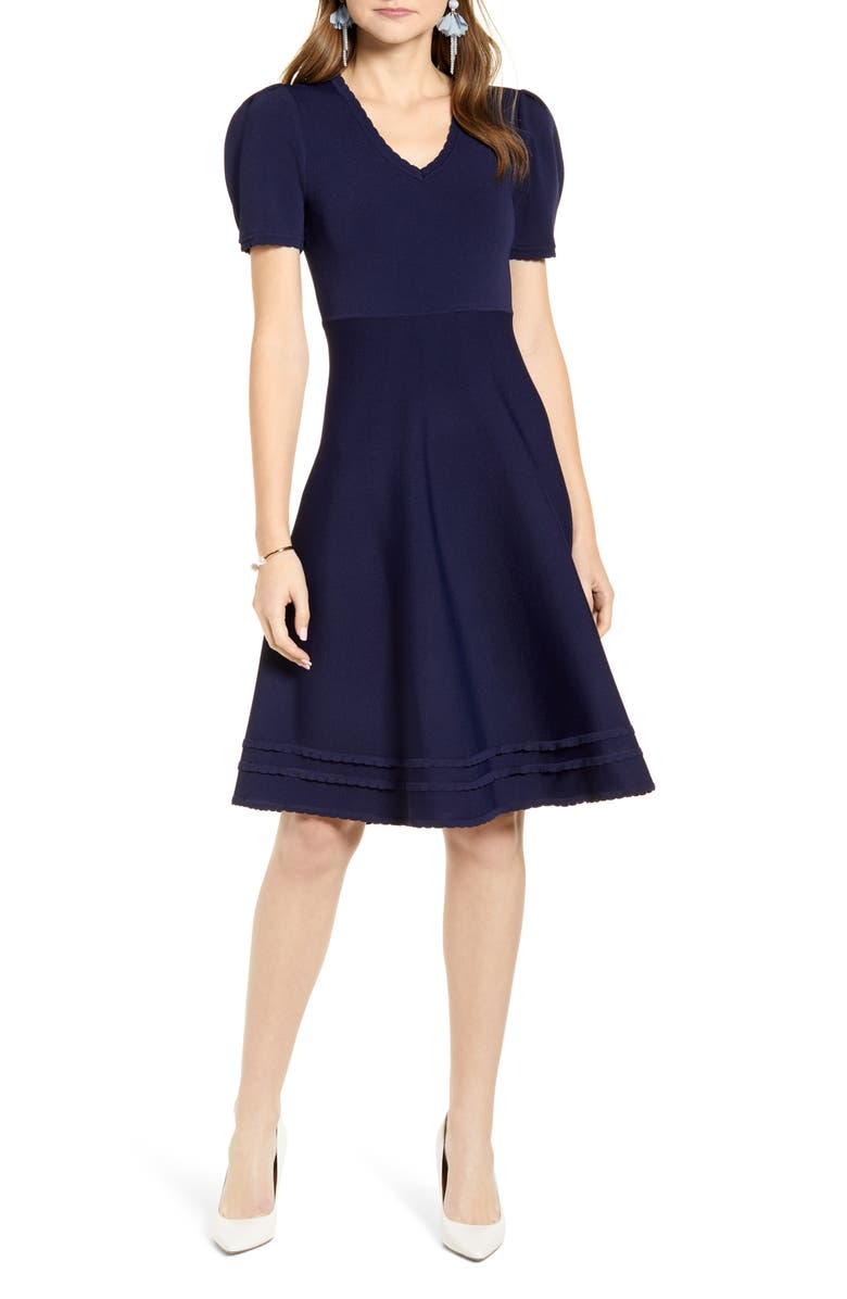 RACHEL PARCELL Fit & Flare Sweater Dress, Main, color, 401