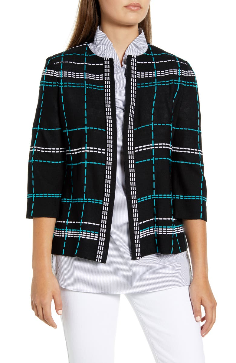 MING WANG Pickstitch Plaid Boxy Jacket, Main, color, BLACK/ BERMUDA/ WHITE