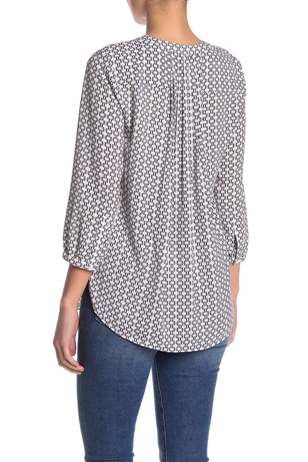 NYDJ Womens Petite Size 3//4 Sleeve Pintuck Blouse