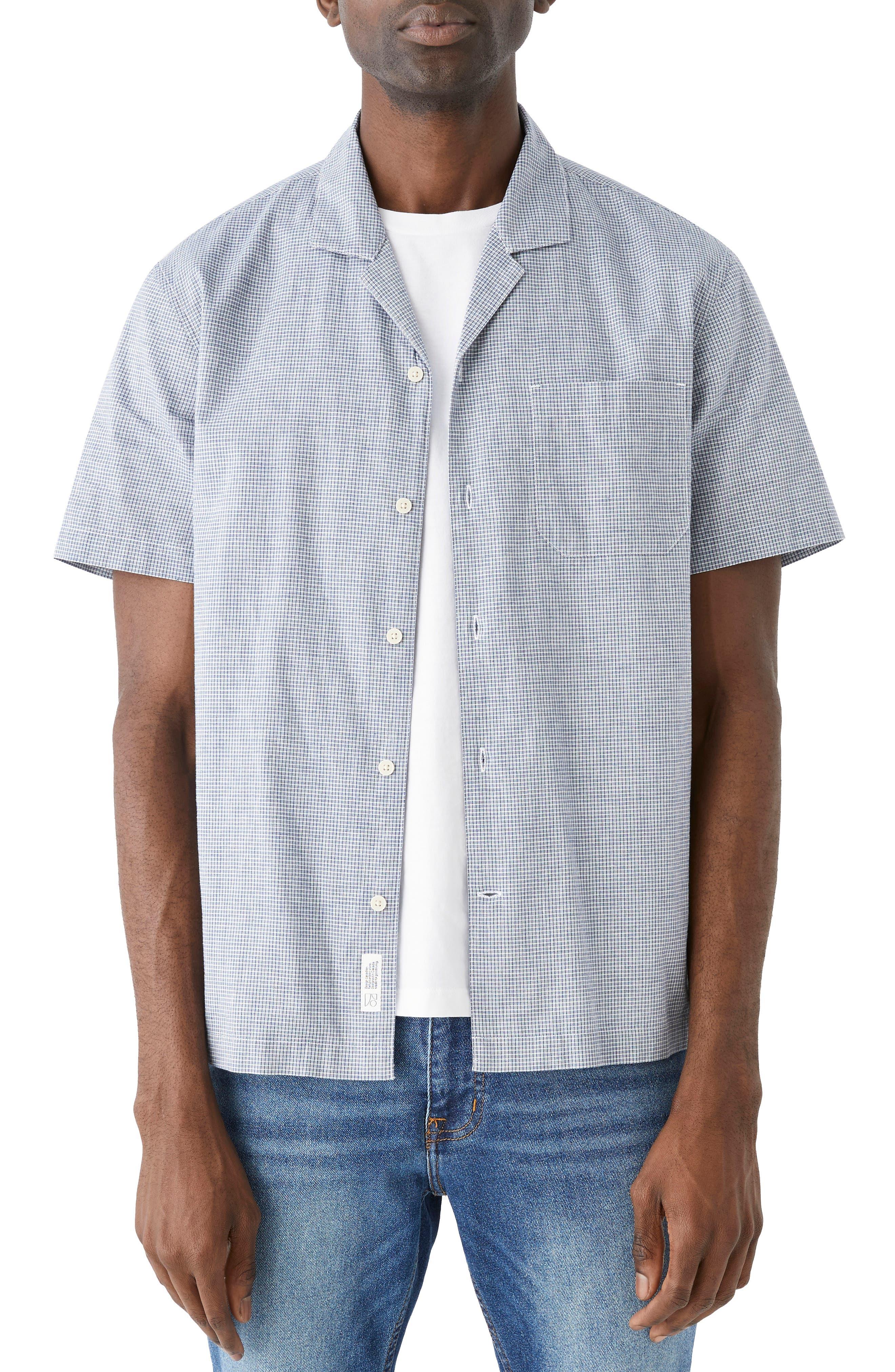 Check Short Sleeve Organic Cotton & Linen Button-Up Shirt