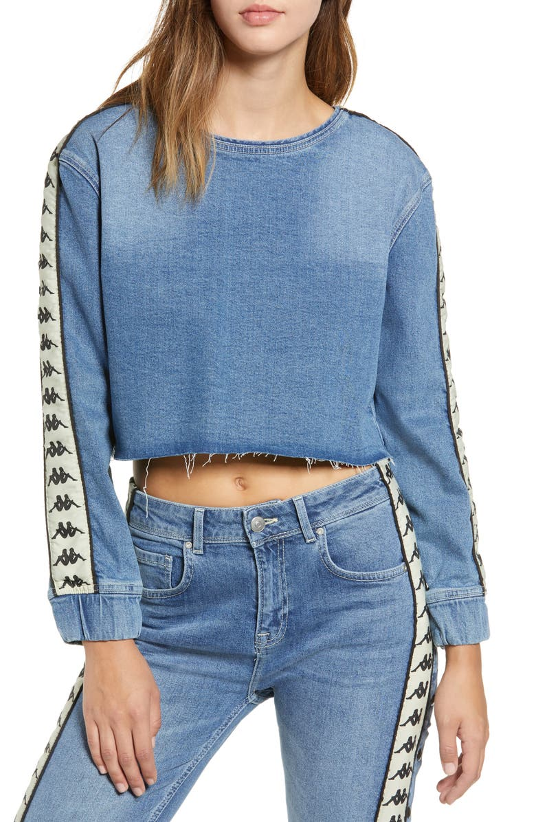 KAPPA Authentic Bersy Denim Crop Top, Main, color, 400
