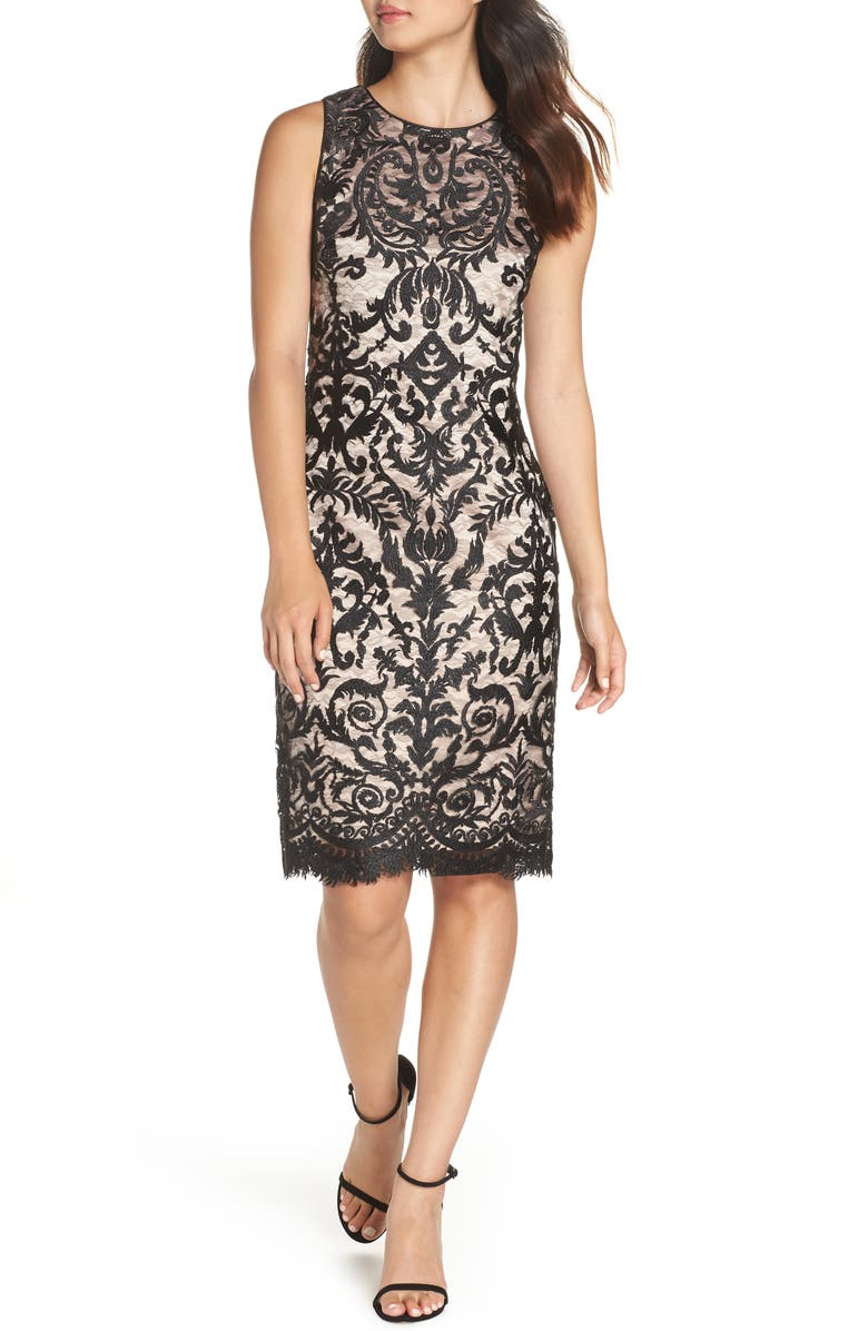 VINCE CAMUTO Embroidered Mesh Sheath Dress, Main, color, 001