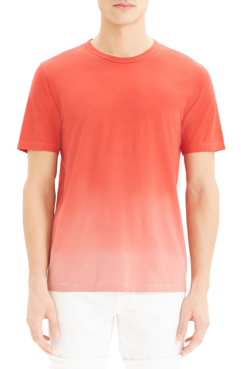 THEORY Essential Chroma T-Shirt, Main, color, CADMIUM RED/ SCALLOP