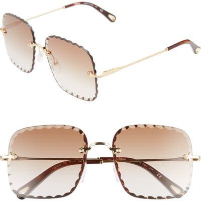 Chloe Rosie 5m Square Sunglasses - Gold/ Gradient Brown