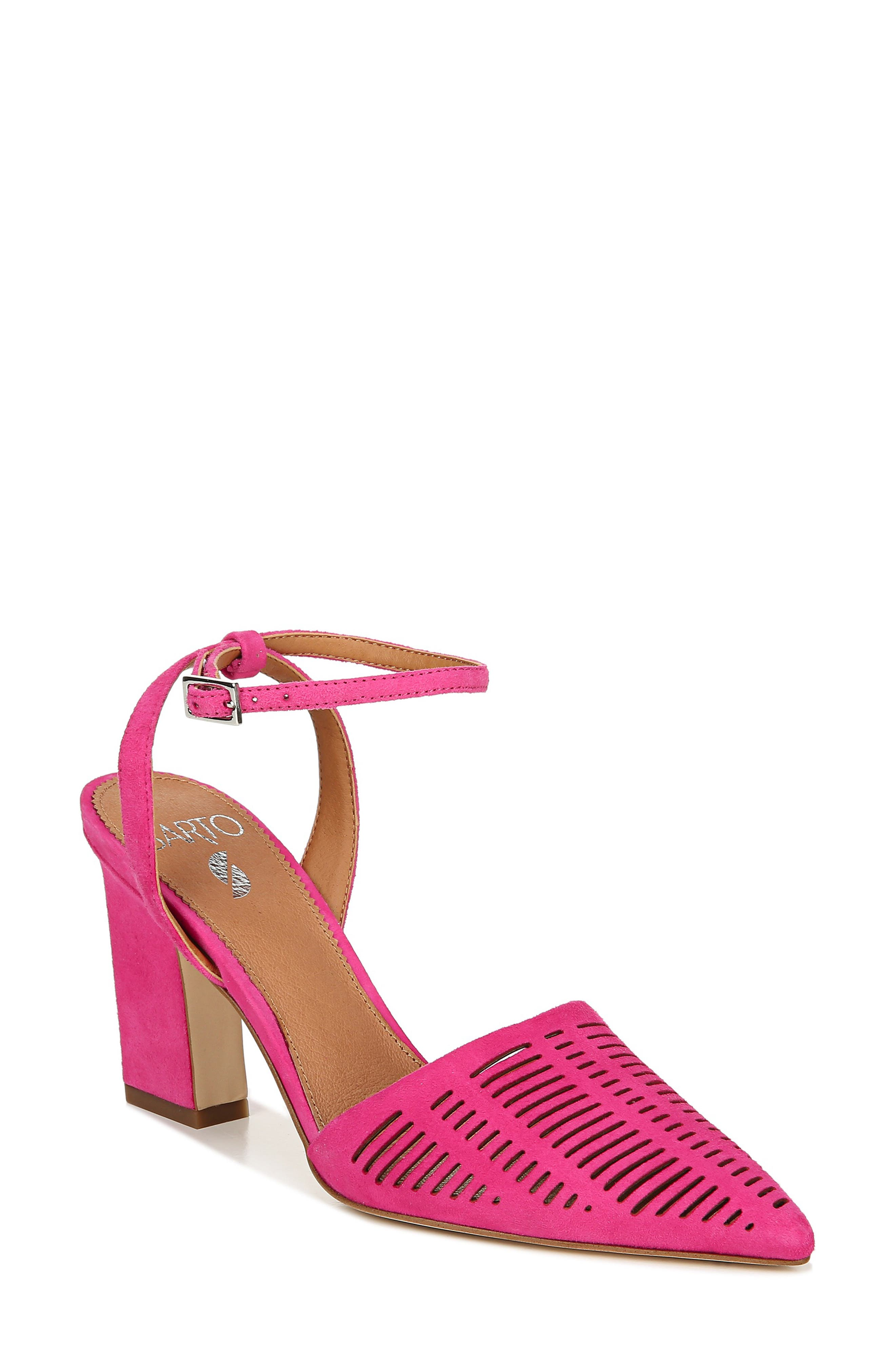 Image of SARTO BY FRANCO SARTO Starla Leather Perforated Ankle Strap Pump