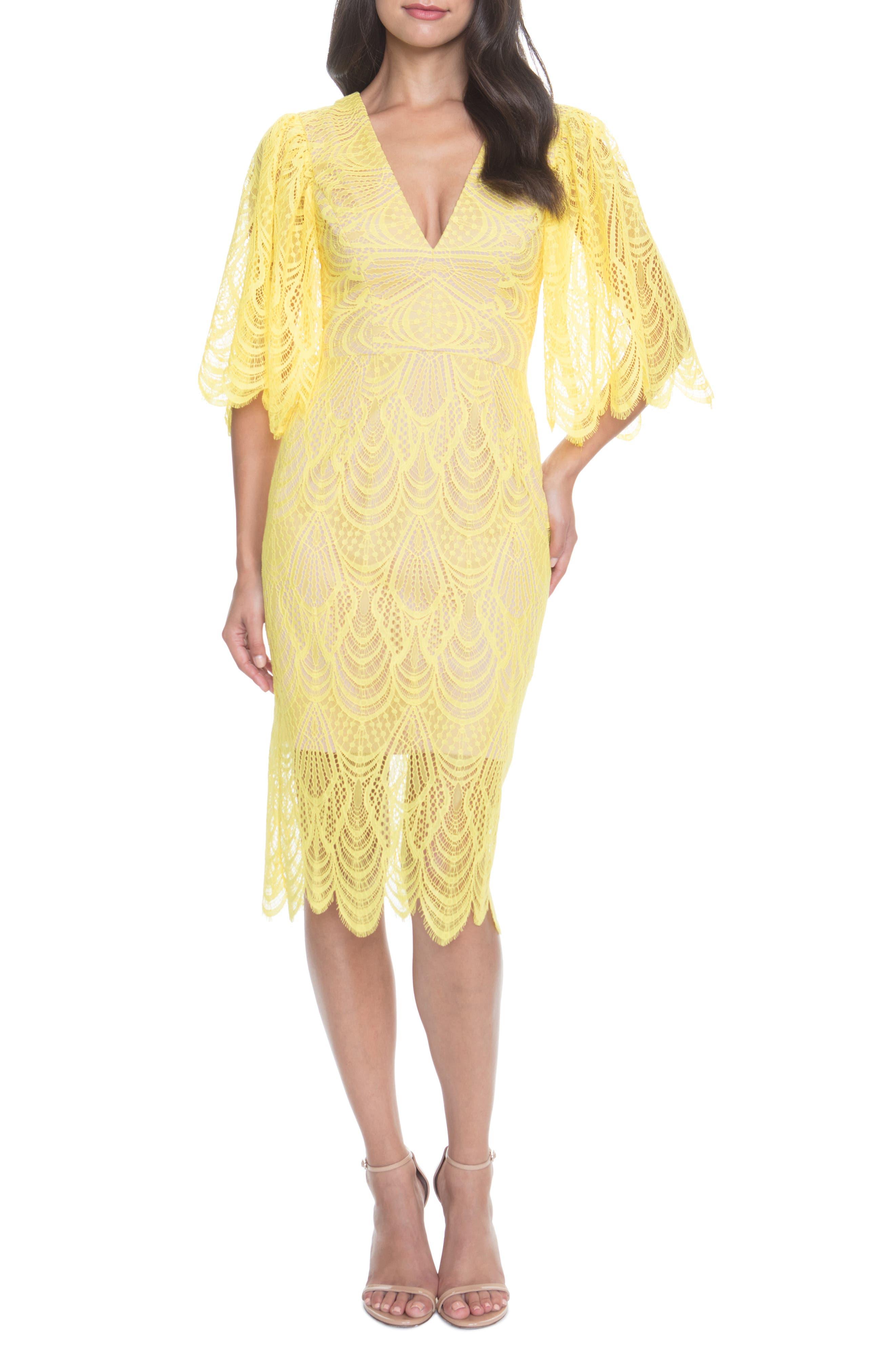 Dress The Population Mia Angel Sleeve Lace Dress, Yellow