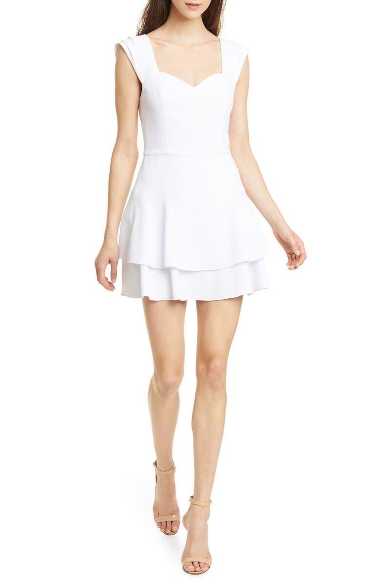 ALICE + OLIVIA Brinda Double Ruffle Fit & Flare Dress, Main, color, WHITE