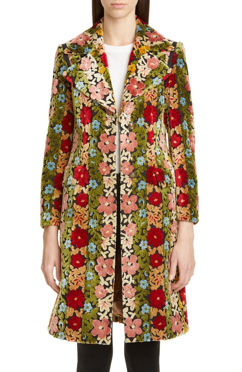 ETRO Floral Chenille Jacquard Coat, Main, color, 300