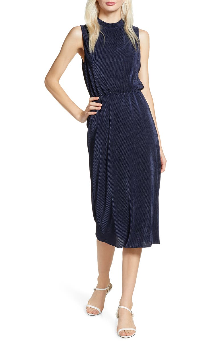 CHARLES HENRY Sleeveless Midi Dress, Main, color, 400