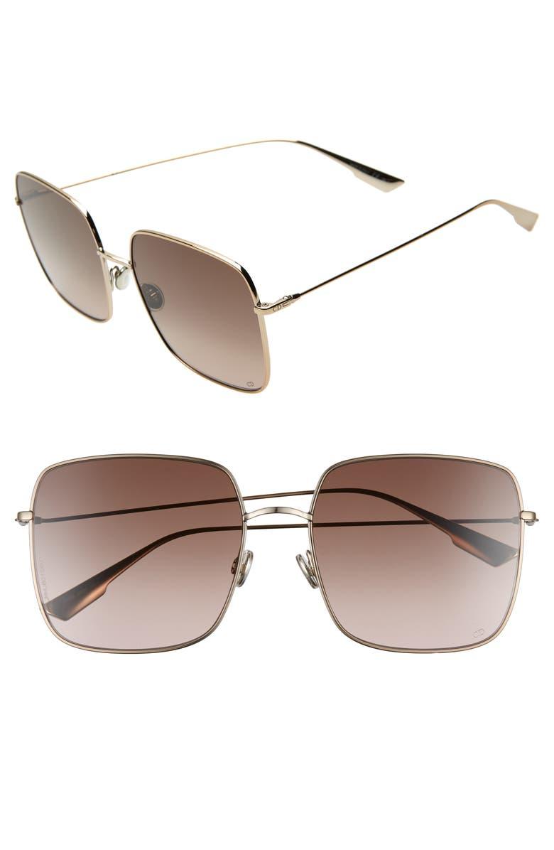 DIOR Stellaire 59mm Square Sunglasses, Main, color, CHAMPAGNE