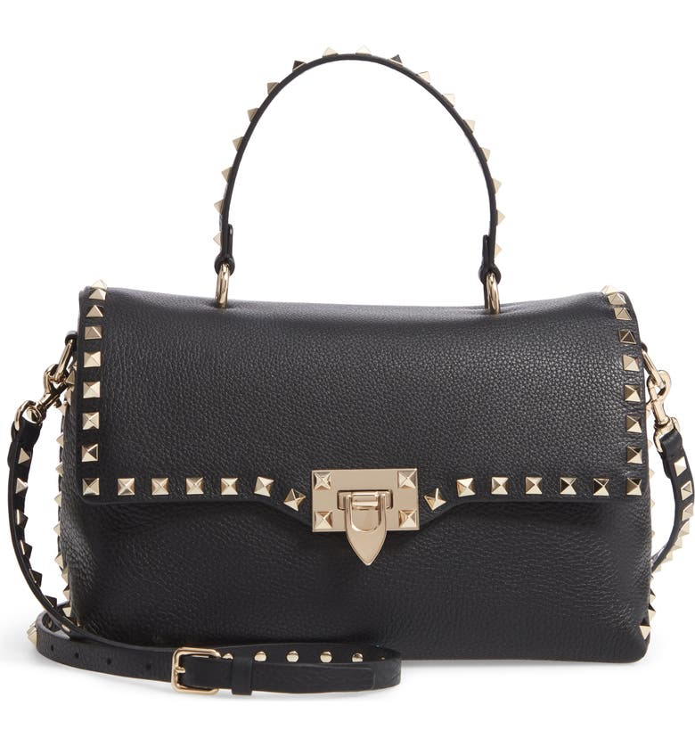 VALENTINO GARAVANI Rockstud Leather Top Handle Bag, Main, color, 001