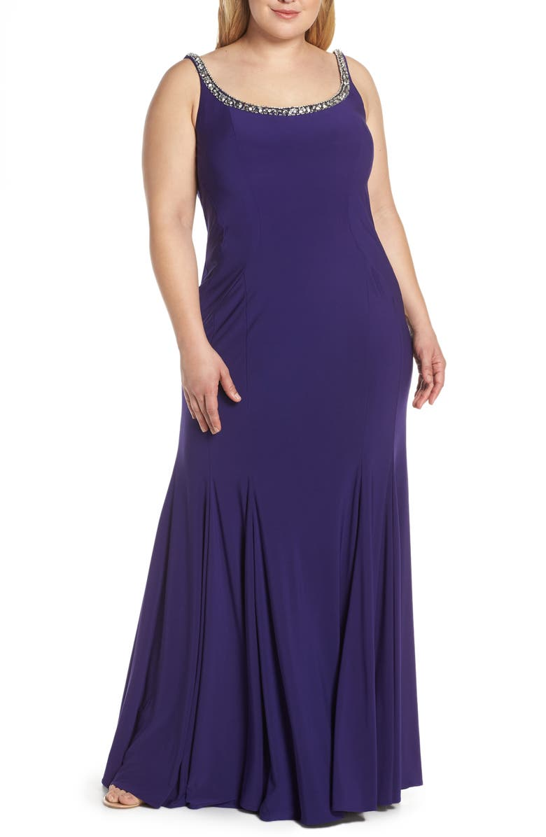 MAC DUGGAL Jeweled Neck Lace-Up Back Jersey Gown, Main, color, ROYAL/ PURPLE