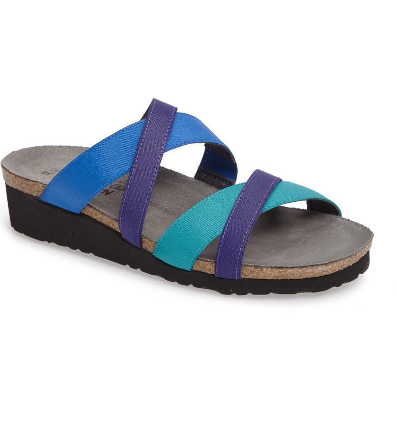 NAOT Roxana Strappy Slip-On Sandal, Main, color, BLUE/ PURPLE FABRIC