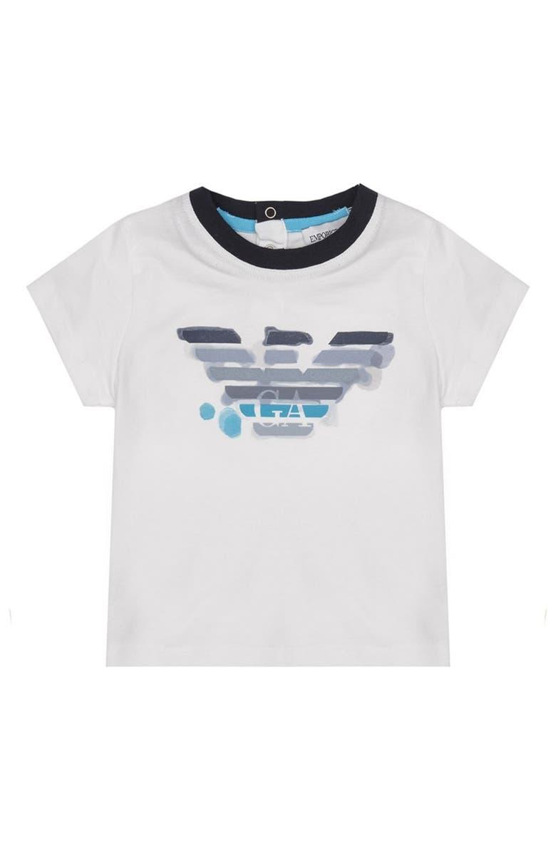 ARMANI JUNIOR Large Logo T-Shirt, Main, color, BIANCO OTTICO