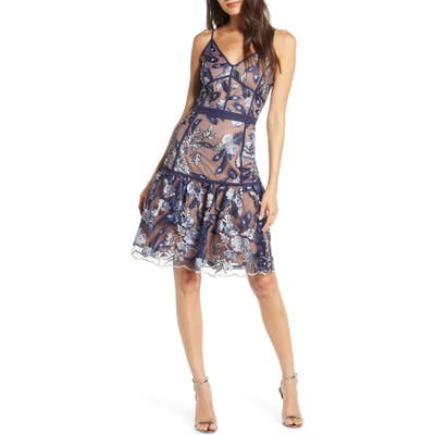 Harlyn Embroidered Cocktail Dress, Blue