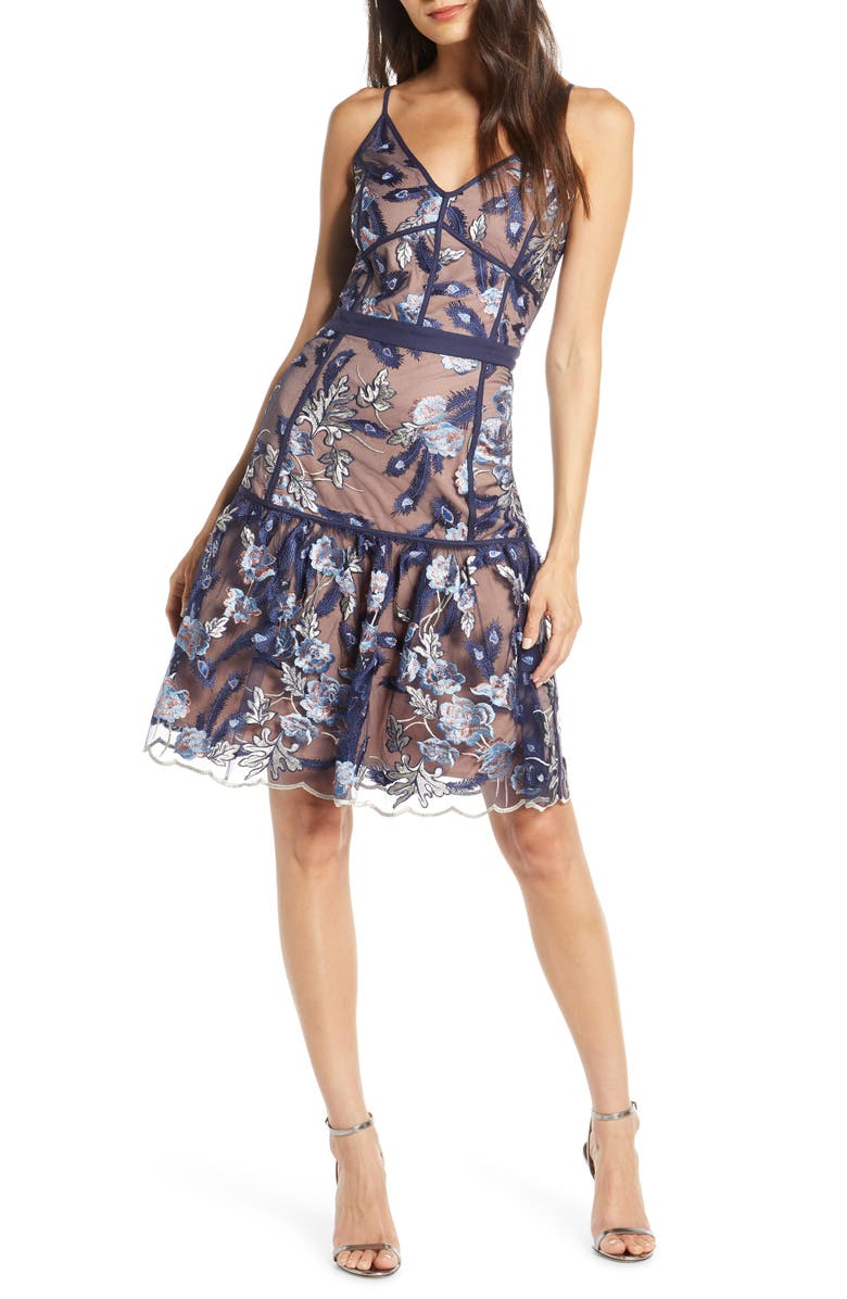 HARLYN Embroidered Cocktail Dress, Main, color, 410