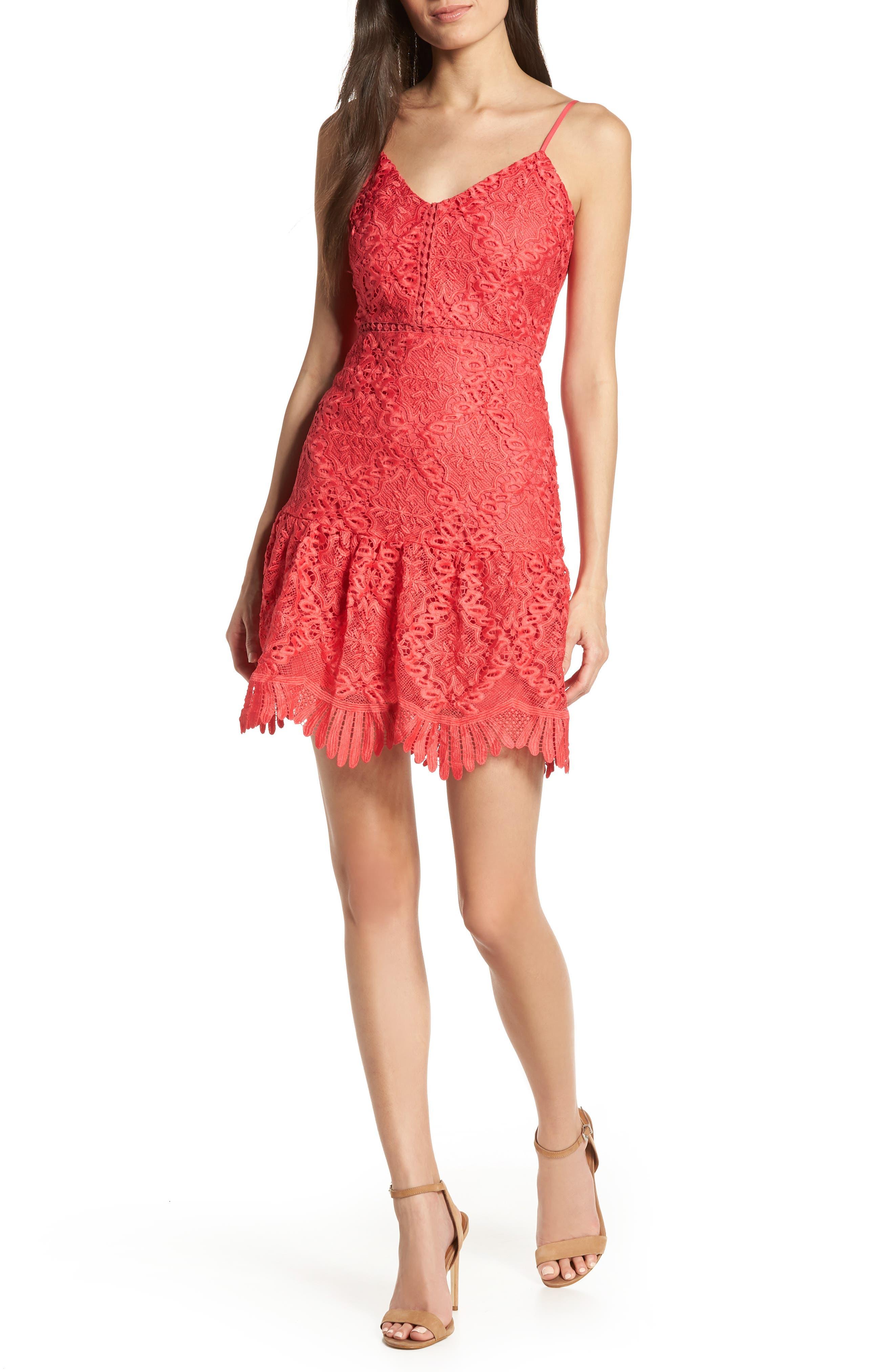 Bb Dakota Party Has Arrived Scallop Lace Sundress, Pink