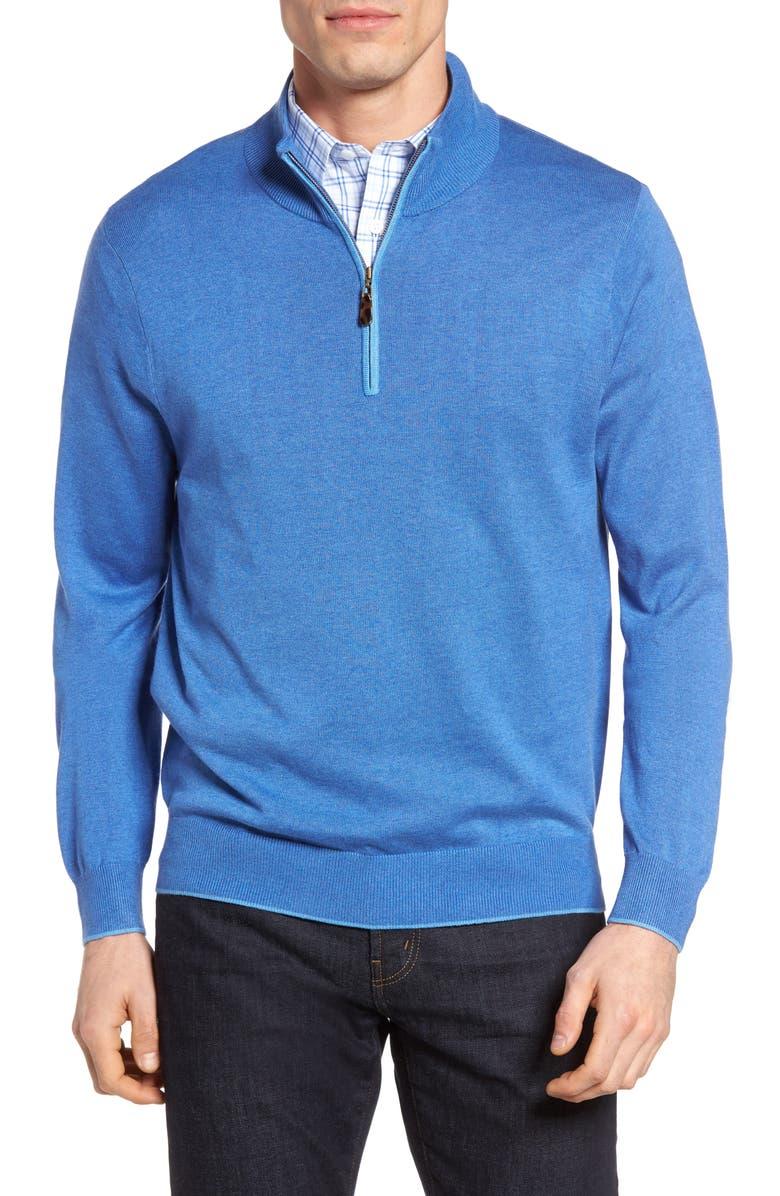 DAVID DONAHUE Silk Blend Quarter Zip Sweater, Main, color, 423