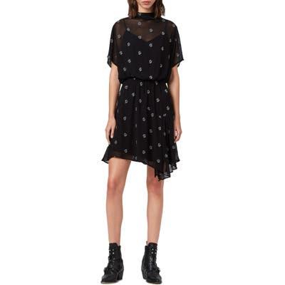 Allsaints Giulia Cyla Embroidered Funnel Neck Dress, Black