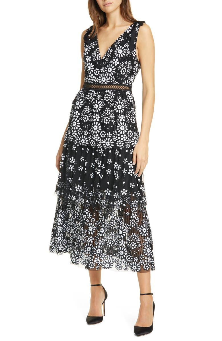 SELF-PORTRAIT Floral Deco Sequin Tiered Midi Dress, Main, color, BLACK
