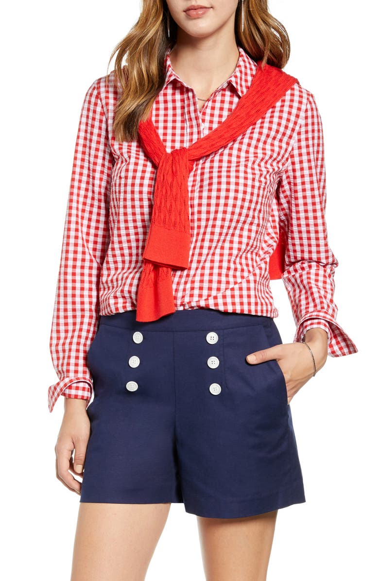 1901 Gingham Boyfriend Cotton Blend Shirt, Main, color, RED- WHITE GINGHAM