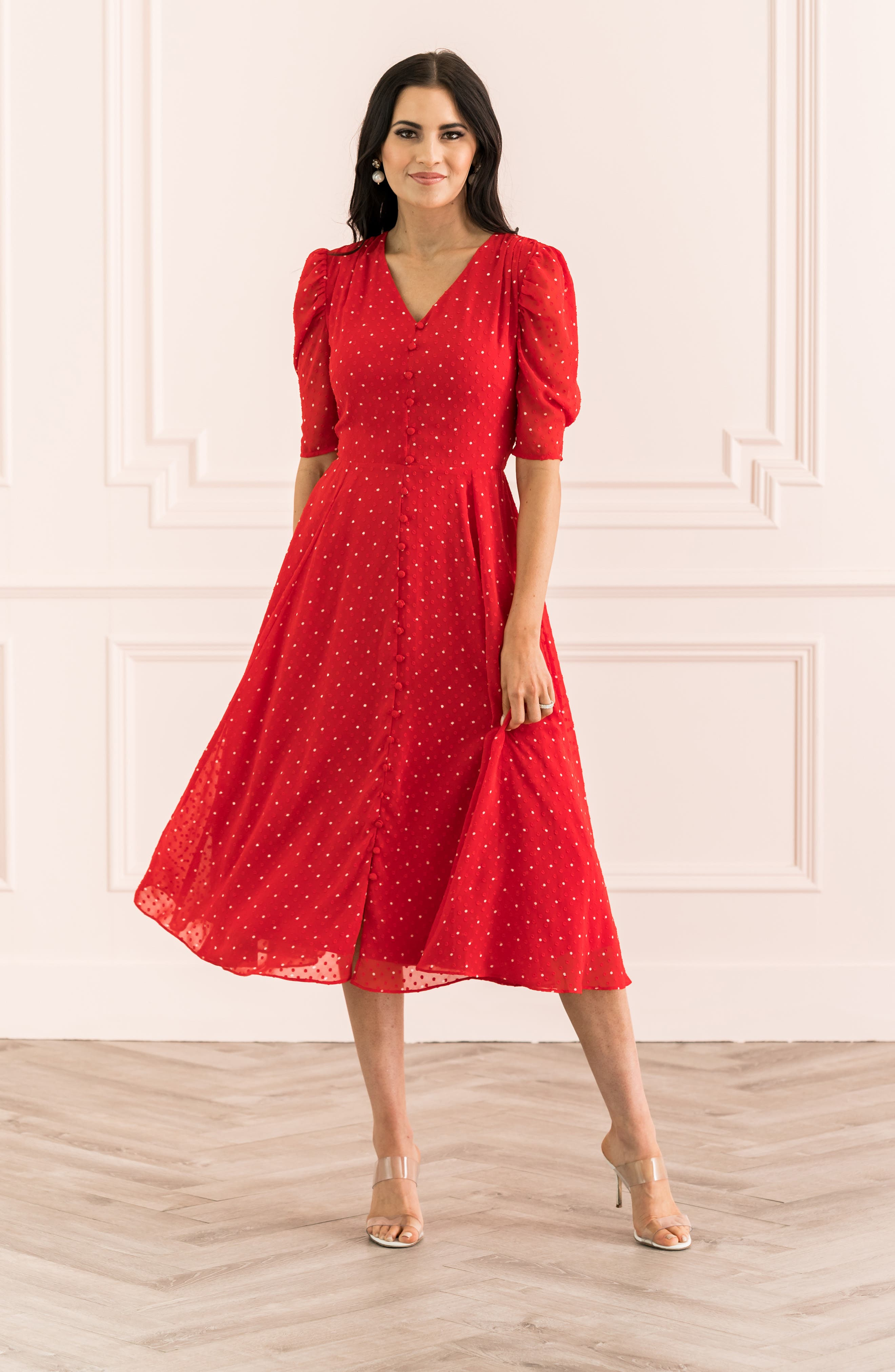 ,                             Chiffon A-Line Dress,                             Alternate thumbnail 11, color,                             RED CHINOISE DOT