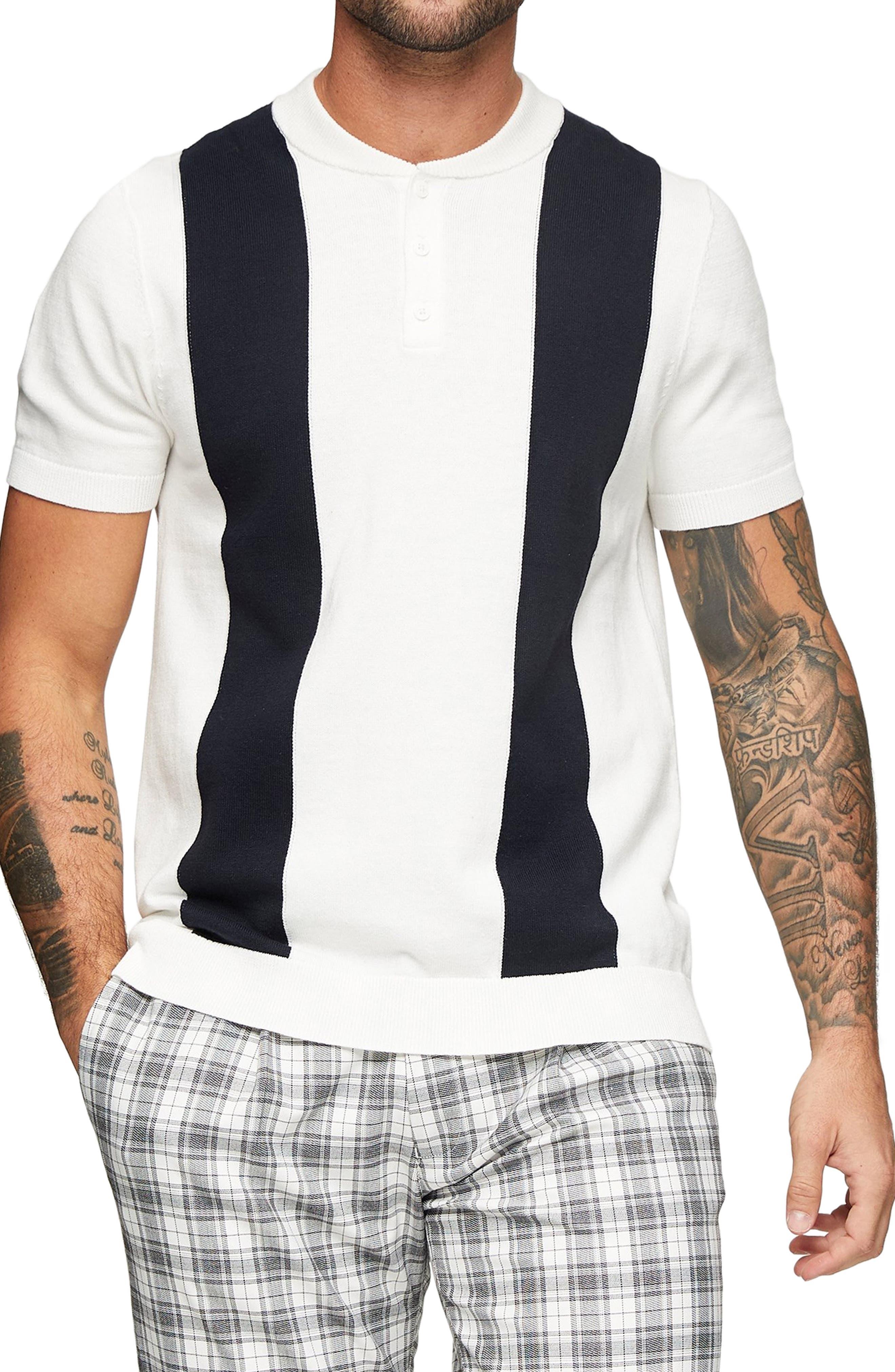 1960s Mens Shirts | 60s Mod Shirts, Hippie Shirts Mens Topman Baseball Stitch Polo Shirt Size Medium - White $45.00 AT vintagedancer.com