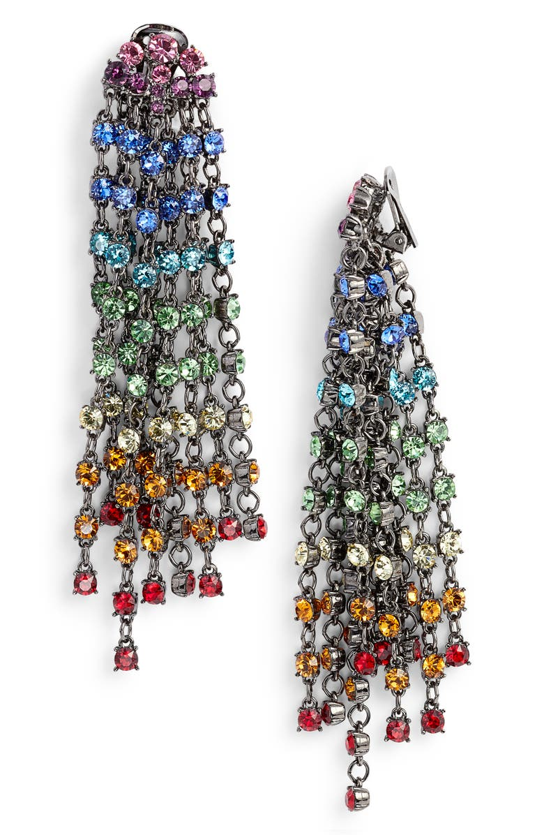 OSCAR DE LA RENTA Crystal Cascade Waterfall Drop Earrings, Main, color, 600