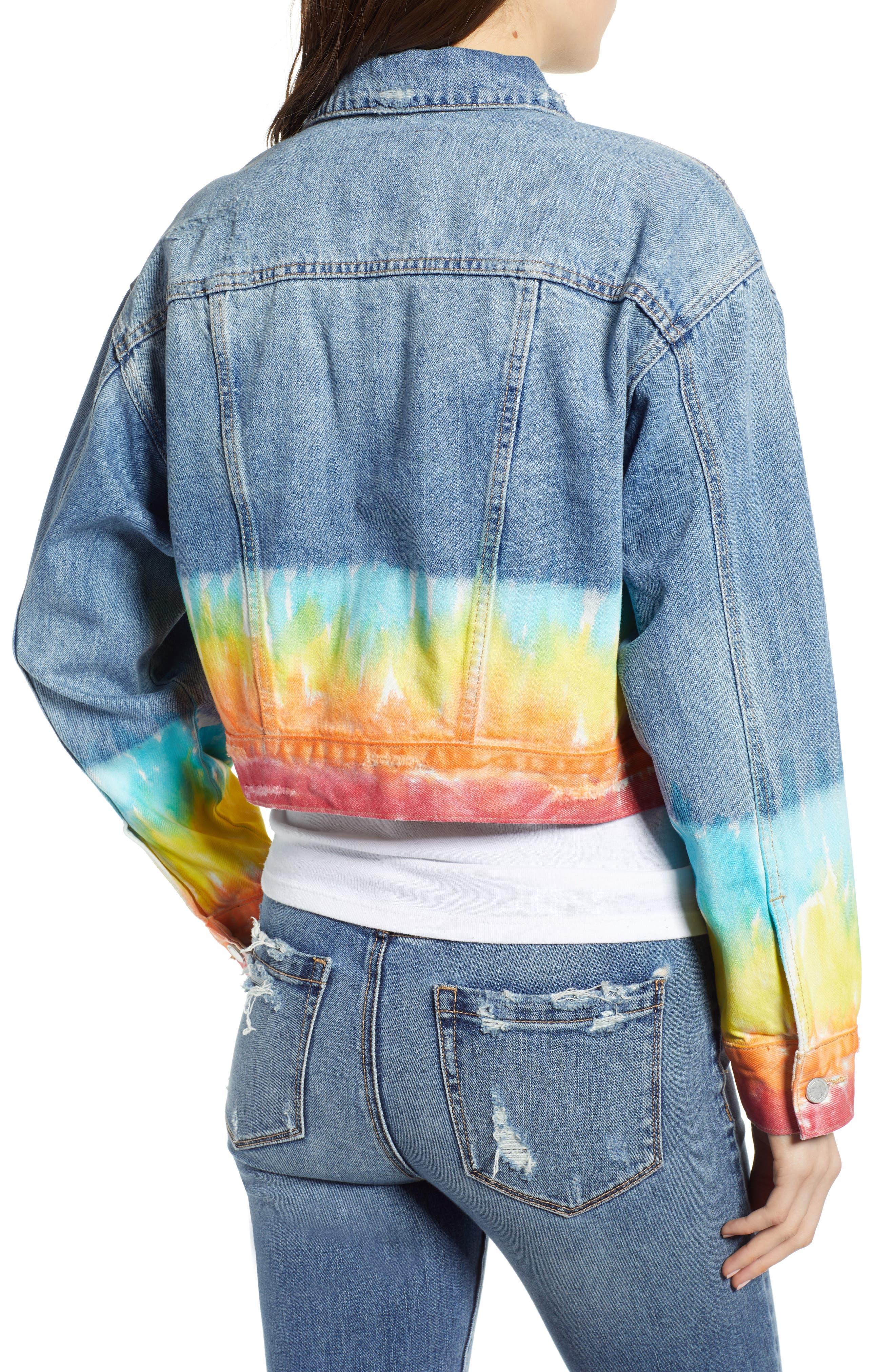 ,                             Tie Dye Hem Crop Denim Jacket,                             Alternate thumbnail 2, color,                             BLOW THE BAG