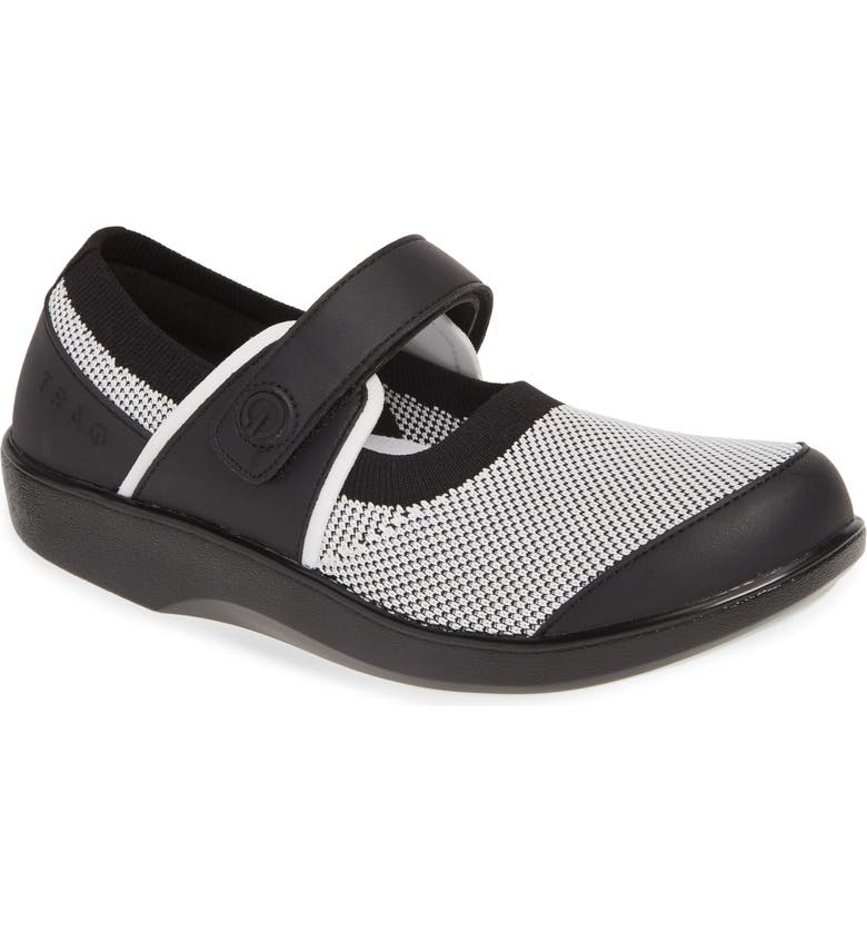 ALEGRIA Qutie Mary Jane Flat, Main, color, BLACK WHITE LEATHER